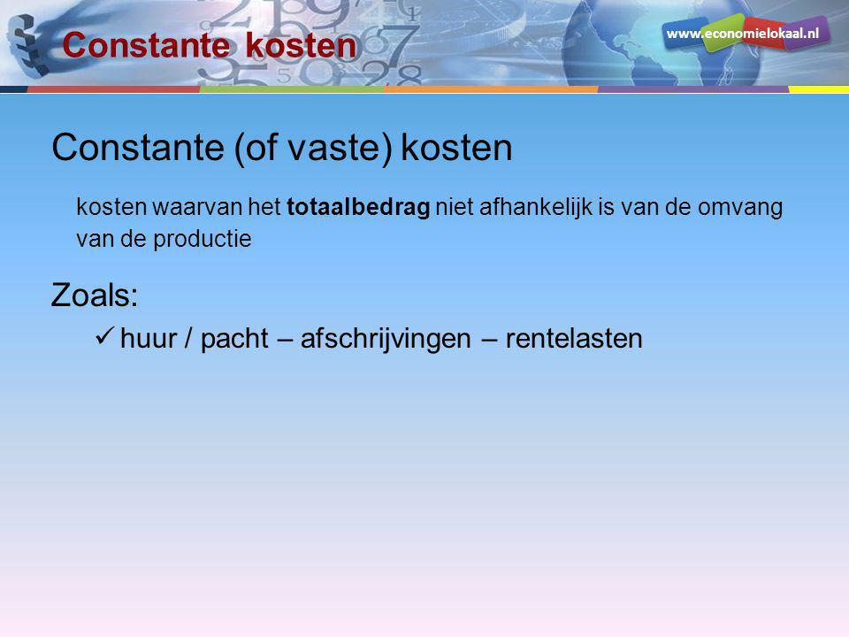 Constante (of vaste) kosten