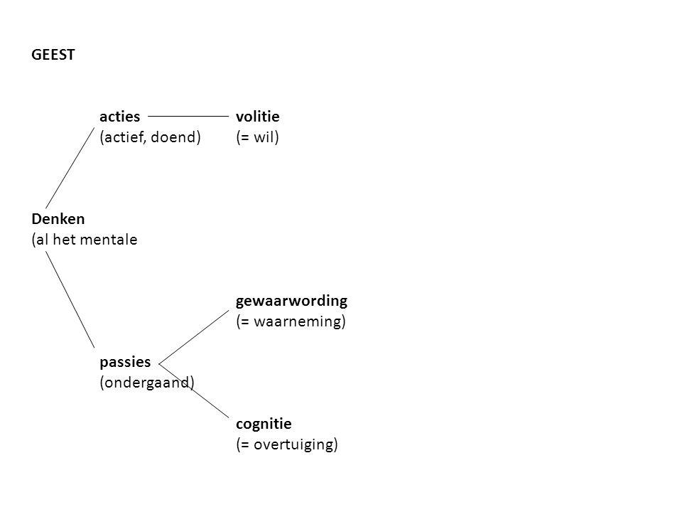 GEEST acties volitie. (actief, doend) (= wil) Denken. (al het mentale. gewaarwording. (= waarneming)