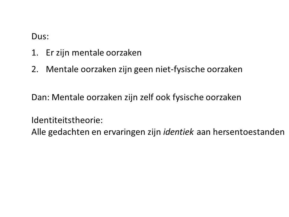 Dus: Er zijn mentale oorzaken. Mentale oorzaken zijn geen niet-fysische oorzaken. Dan: Mentale oorzaken zijn zelf ook fysische oorzaken.