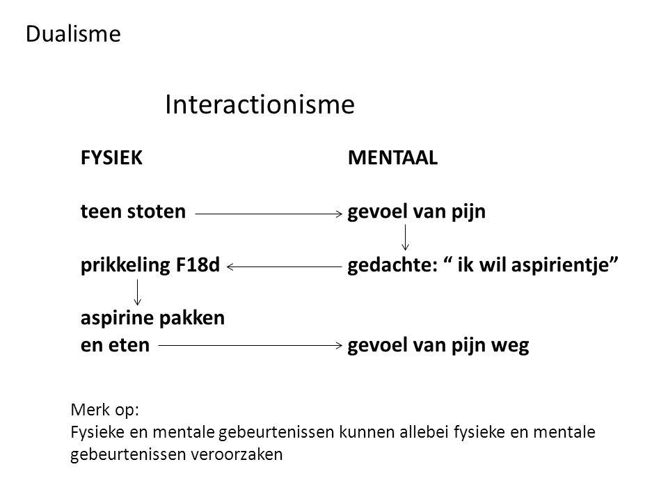 Interactionisme Dualisme FYSIEK MENTAAL teen stoten gevoel van pijn