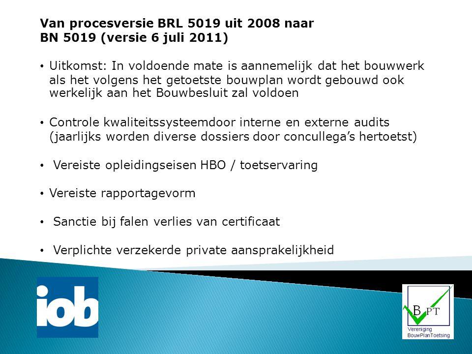 Van procesversie BRL 5019 uit 2008 naar