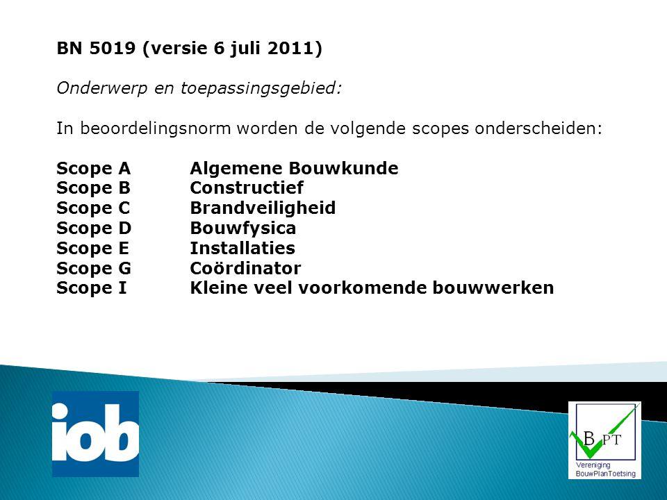 BN 5019 (versie 6 juli 2011) Onderwerp en toepassingsgebied: In beoordelingsnorm worden de volgende scopes onderscheiden: