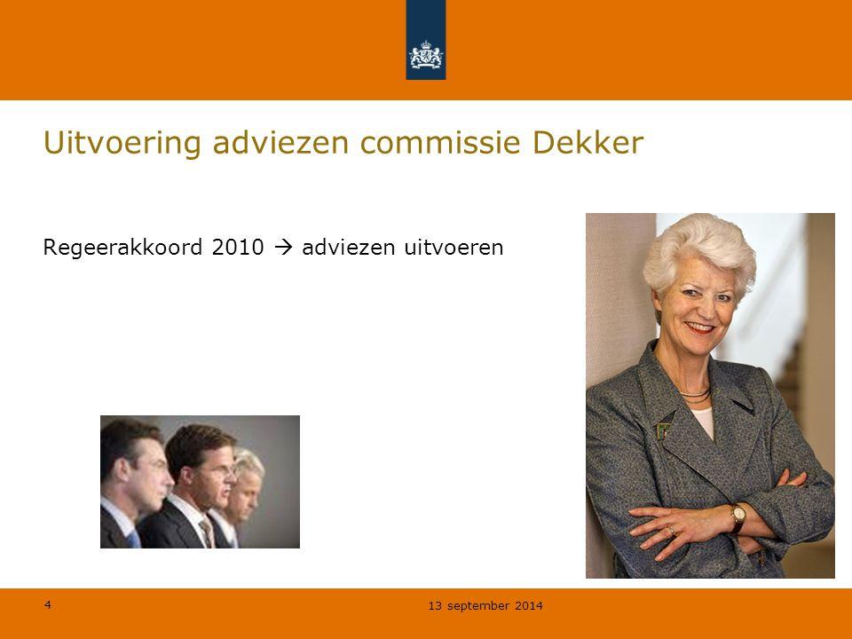 Uitvoering adviezen commissie Dekker
