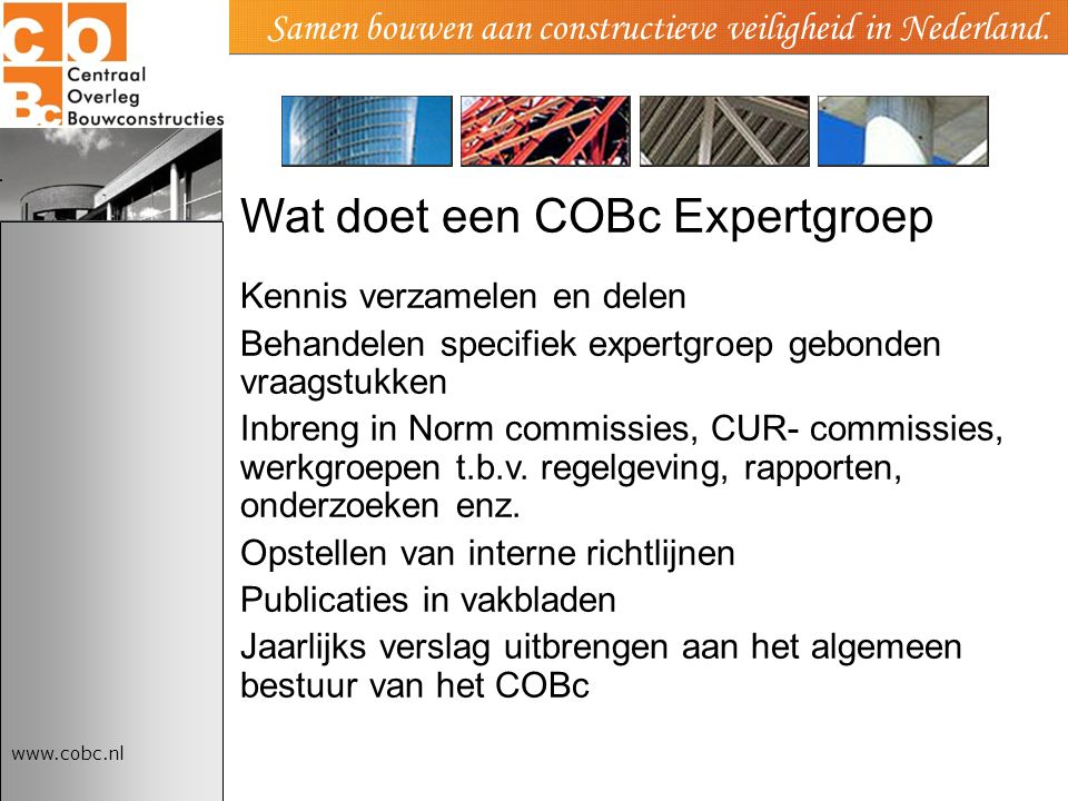 Wat doet een COBc Expertgroep