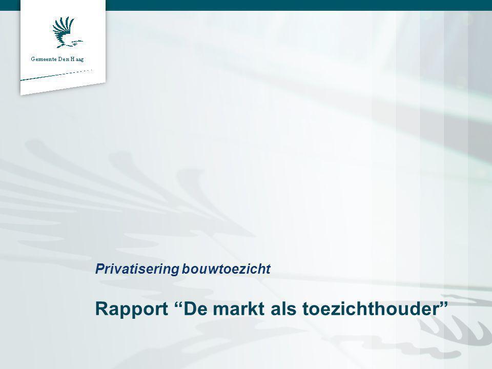 Privatisering bouwtoezicht Rapport De markt als toezichthouder