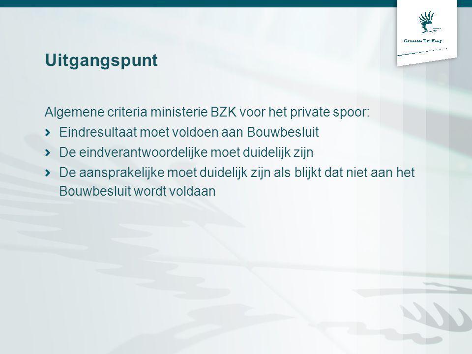 Uitgangspunt Algemene criteria ministerie BZK voor het private spoor: