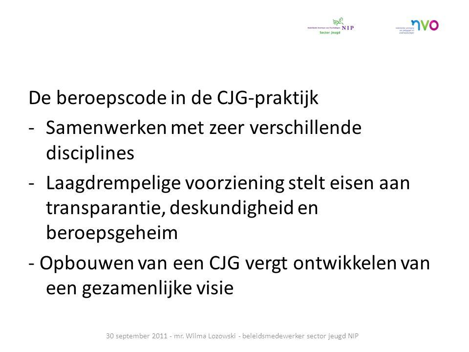 De beroepscode in de CJG-praktijk