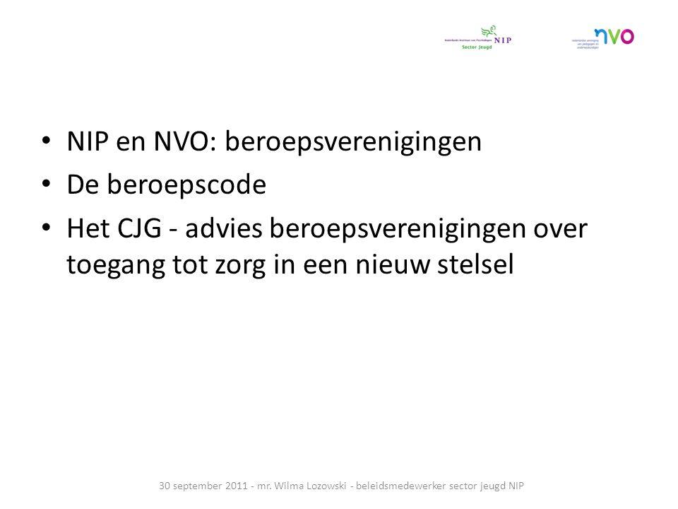 NIP en NVO: beroepsverenigingen De beroepscode