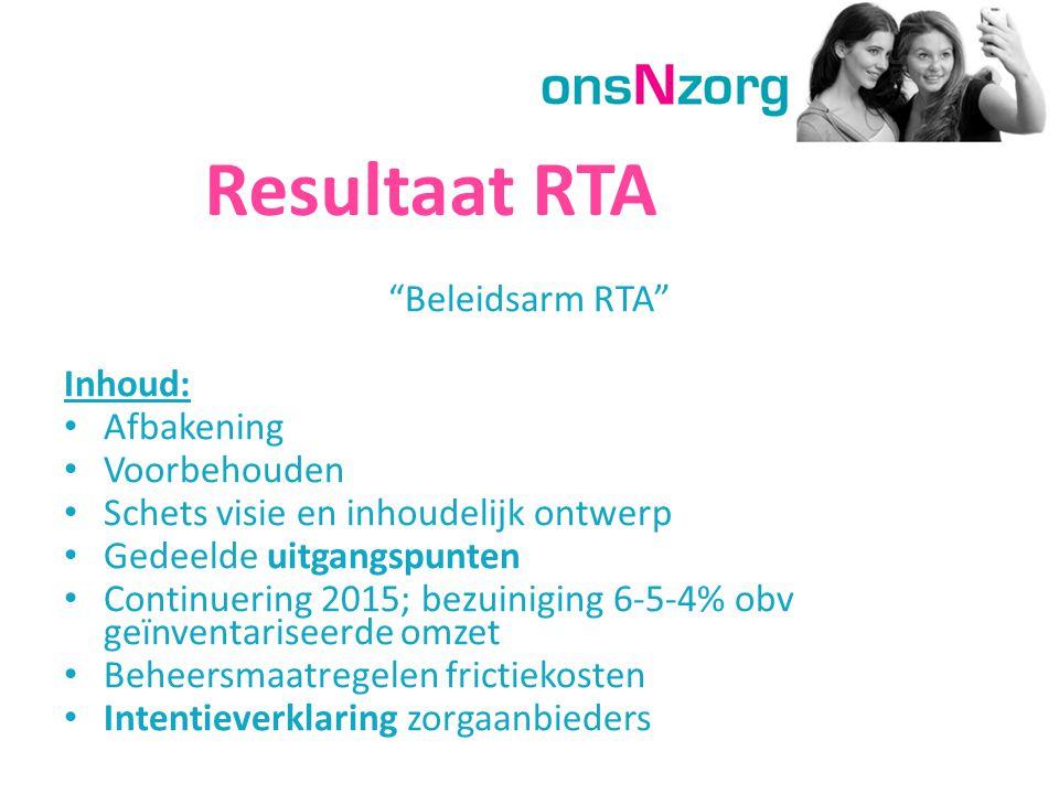Resultaat RTA Beleidsarm RTA Inhoud: Afbakening Voorbehouden