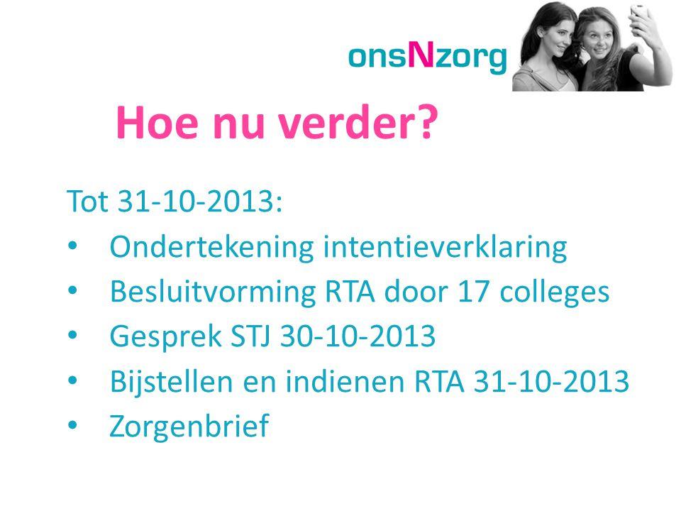 Hoe nu verder Tot 31-10-2013: Ondertekening intentieverklaring