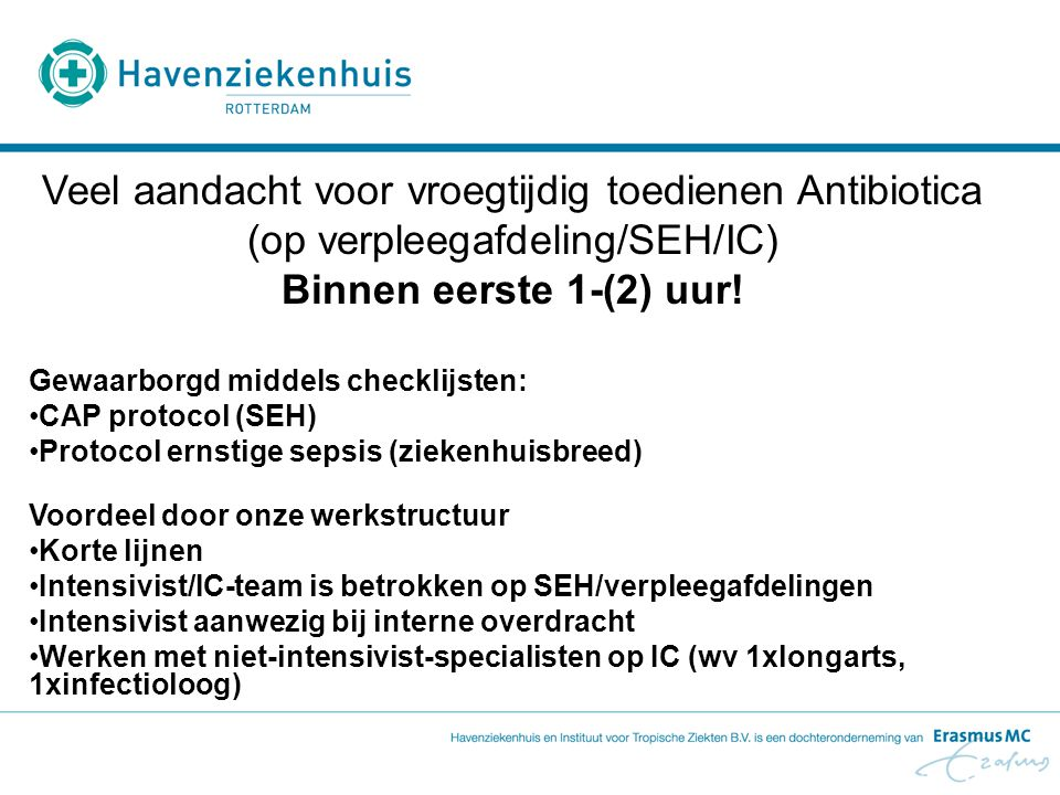 Veel aandacht voor vroegtijdig toedienen Antibiotica (op verpleegafdeling/SEH/IC)