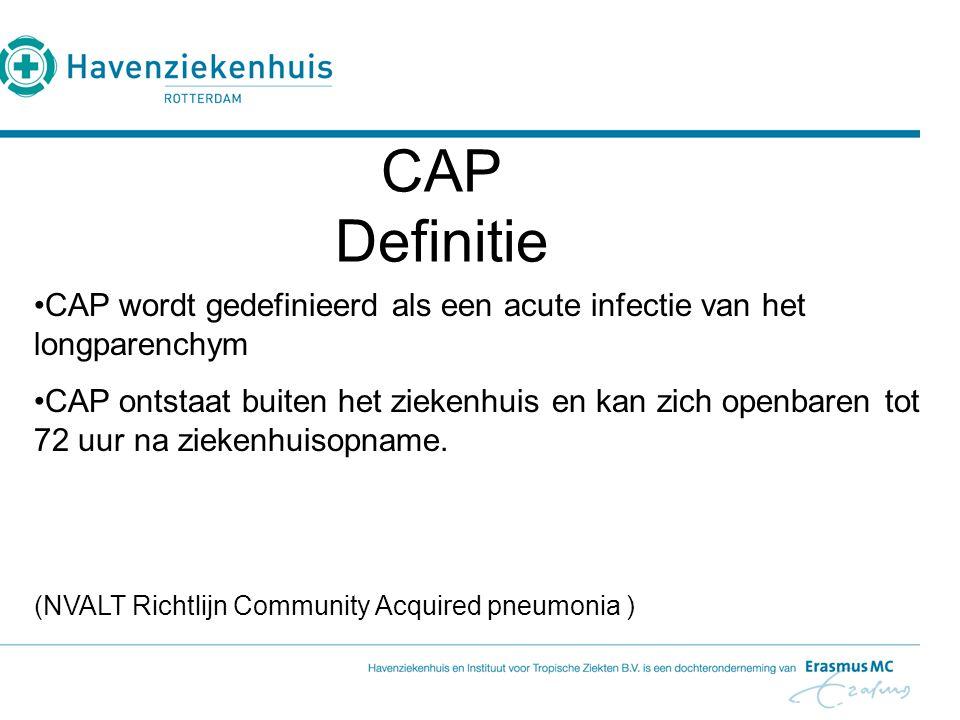 CAP Definitie. CAP wordt gedefinieerd als een acute infectie van het longparenchym.