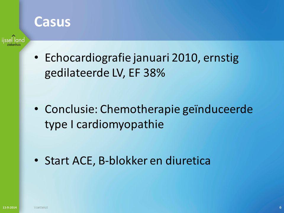 Casus Echocardiografie januari 2010, ernstig gedilateerde LV, EF 38%