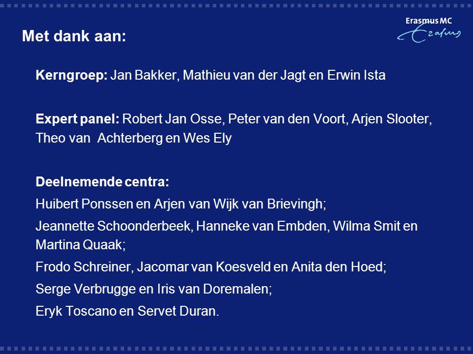 Met dank aan: Kerngroep: Jan Bakker, Mathieu van der Jagt en Erwin Ista.