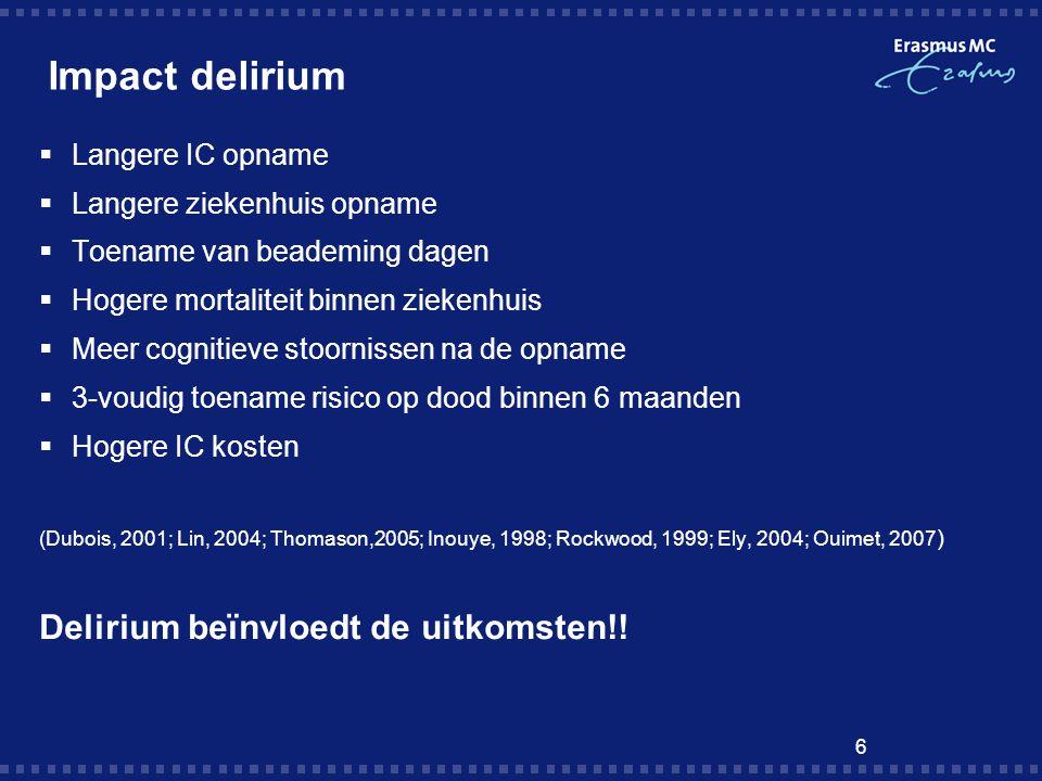 Impact delirium Delirium beïnvloedt de uitkomsten!! Langere IC opname