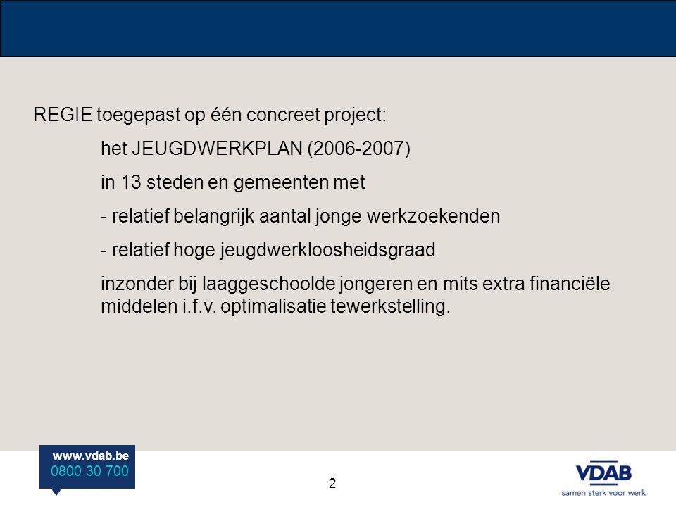 REGIE toegepast op één concreet project: het JEUGDWERKPLAN (2006-2007)