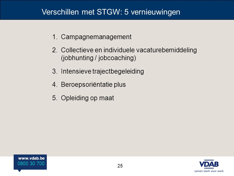 Verschillen met STGW: 5 vernieuwingen