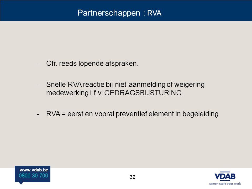 Partnerschappen : RVA Cfr. reeds lopende afspraken.
