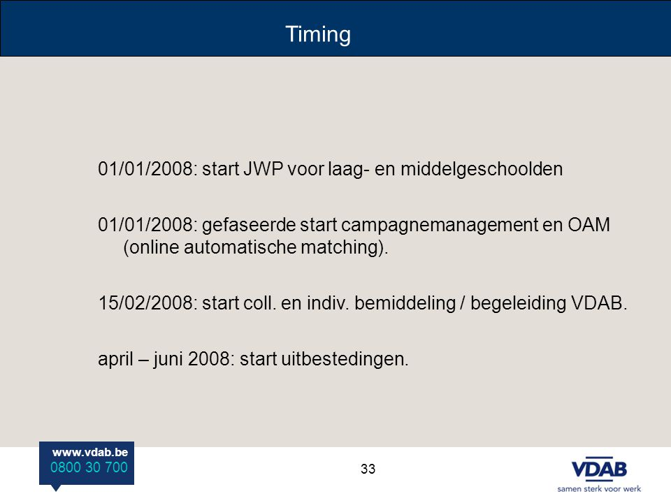 Timing 01/01/2008: start JWP voor laag- en middelgeschoolden