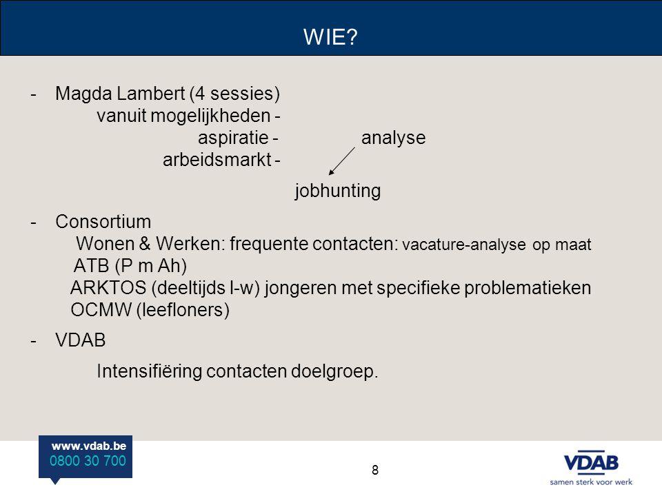 WIE Magda Lambert (4 sessies) vanuit mogelijkheden - aspiratie - analyse arbeidsmarkt -