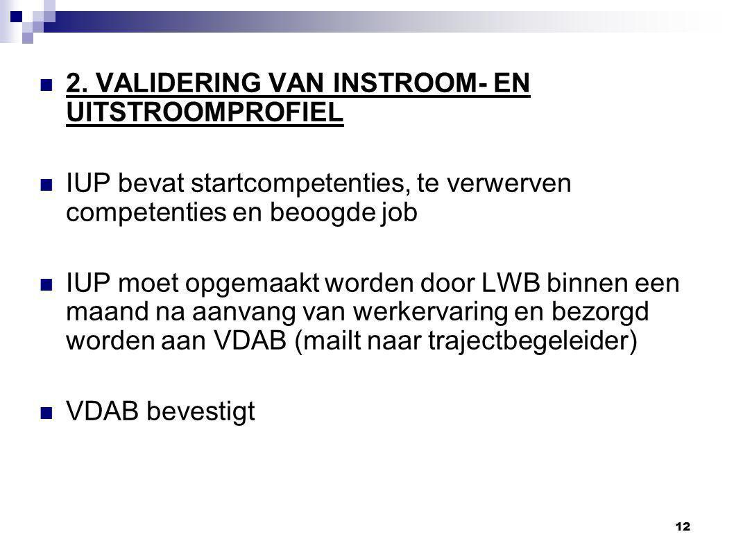 2. VALIDERING VAN INSTROOM- EN UITSTROOMPROFIEL