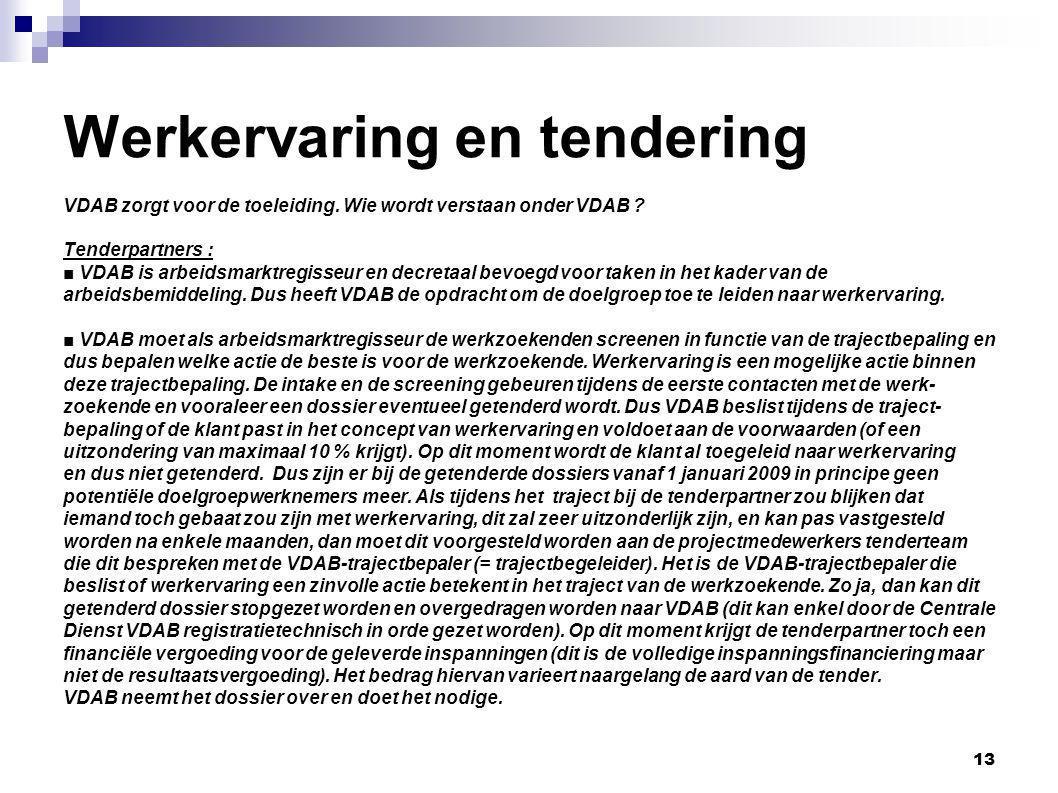 Werkervaring en tendering