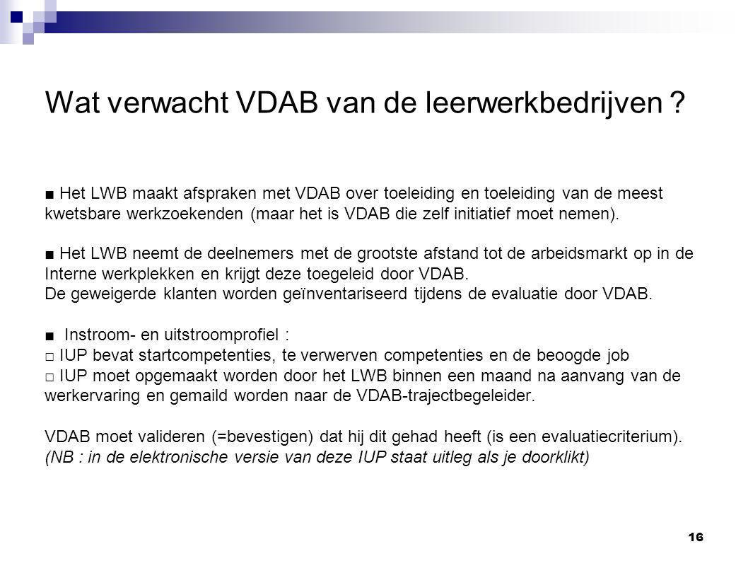 Wat verwacht VDAB van de leerwerkbedrijven