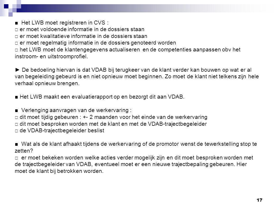 ■ Het LWB moet registreren in CVS :