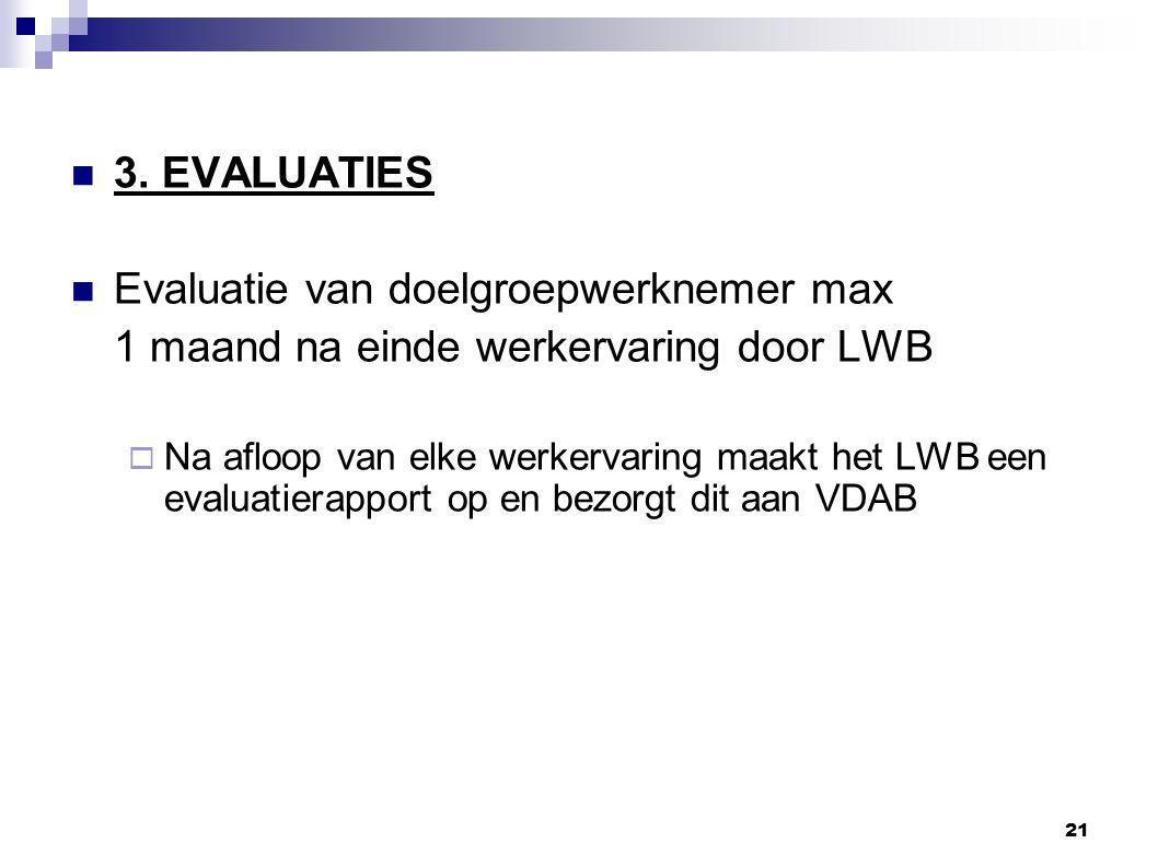 Evaluatie van doelgroepwerknemer max
