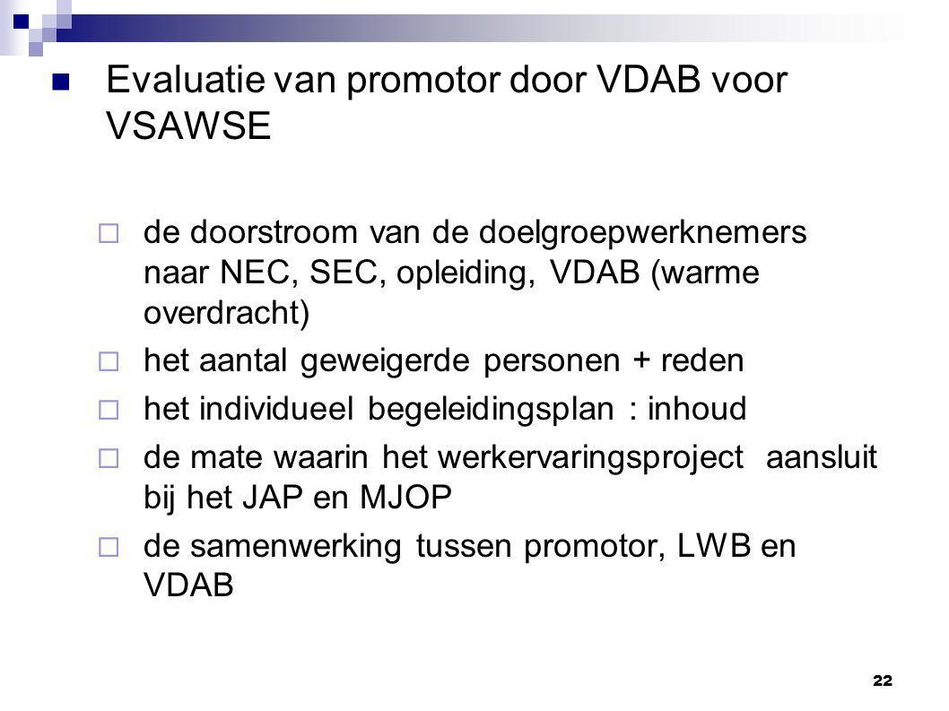 Evaluatie van promotor door VDAB voor VSAWSE