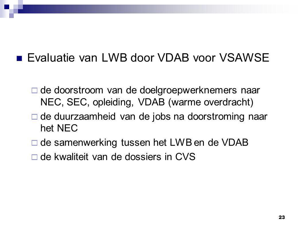 Evaluatie van LWB door VDAB voor VSAWSE