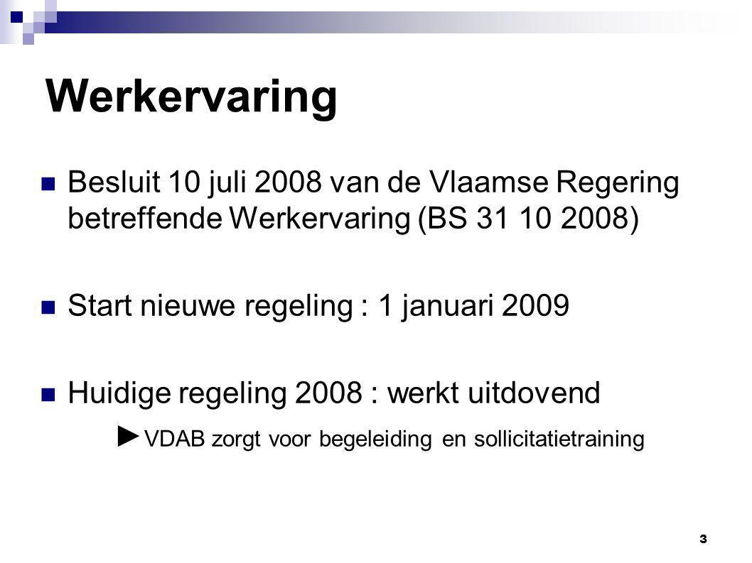Werkervaring Besluit 10 juli 2008 van de Vlaamse Regering betreffende Werkervaring (BS 31 10 2008) Start nieuwe regeling : 1 januari 2009.