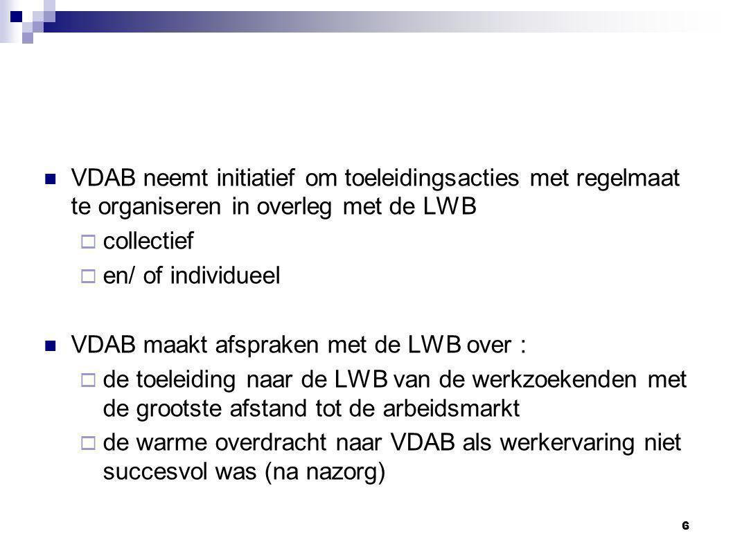 VDAB neemt initiatief om toeleidingsacties met regelmaat te organiseren in overleg met de LWB