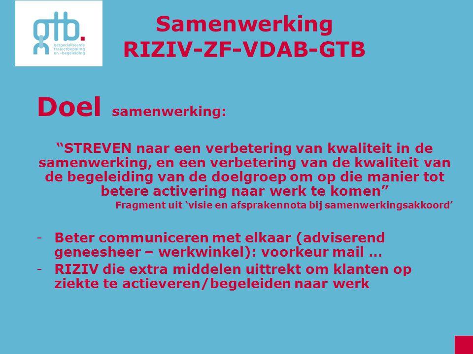 Doel samenwerking: Samenwerking RIZIV-ZF-VDAB-GTB