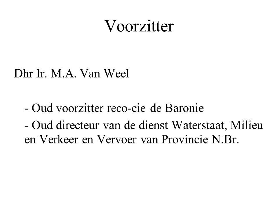 Voorzitter Dhr Ir. M.A. Van Weel - Oud voorzitter reco-cie de Baronie
