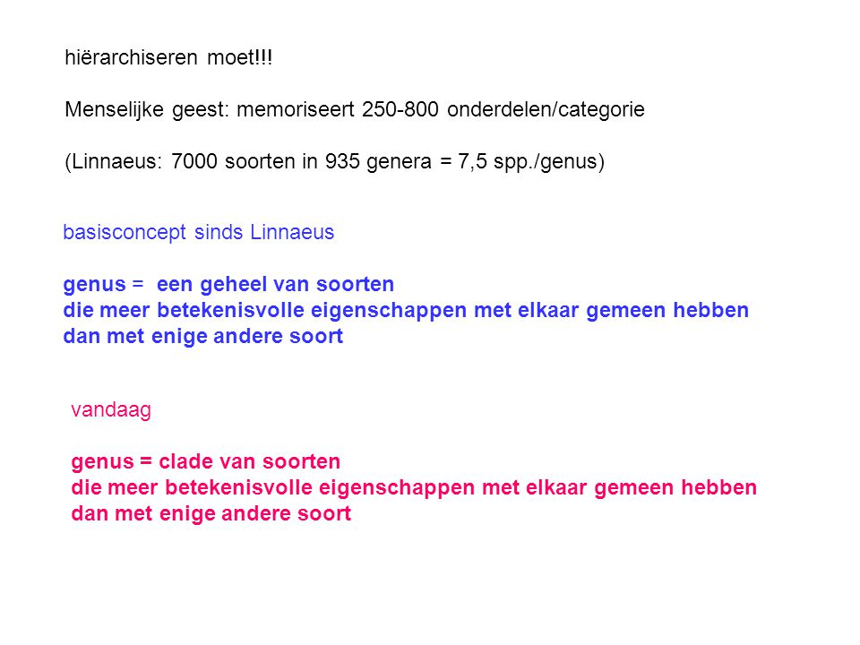 Menselijke geest: memoriseert 250-800 onderdelen/categorie