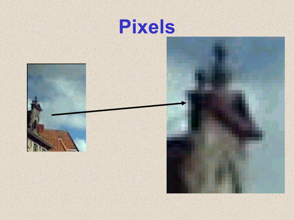Pixels U ziet hier links een foto en deze heb ik rechts helemaal uitvergroot. Wat u ziet dat zo'n foto is opgebouwd uit gekleurde puntjes.
