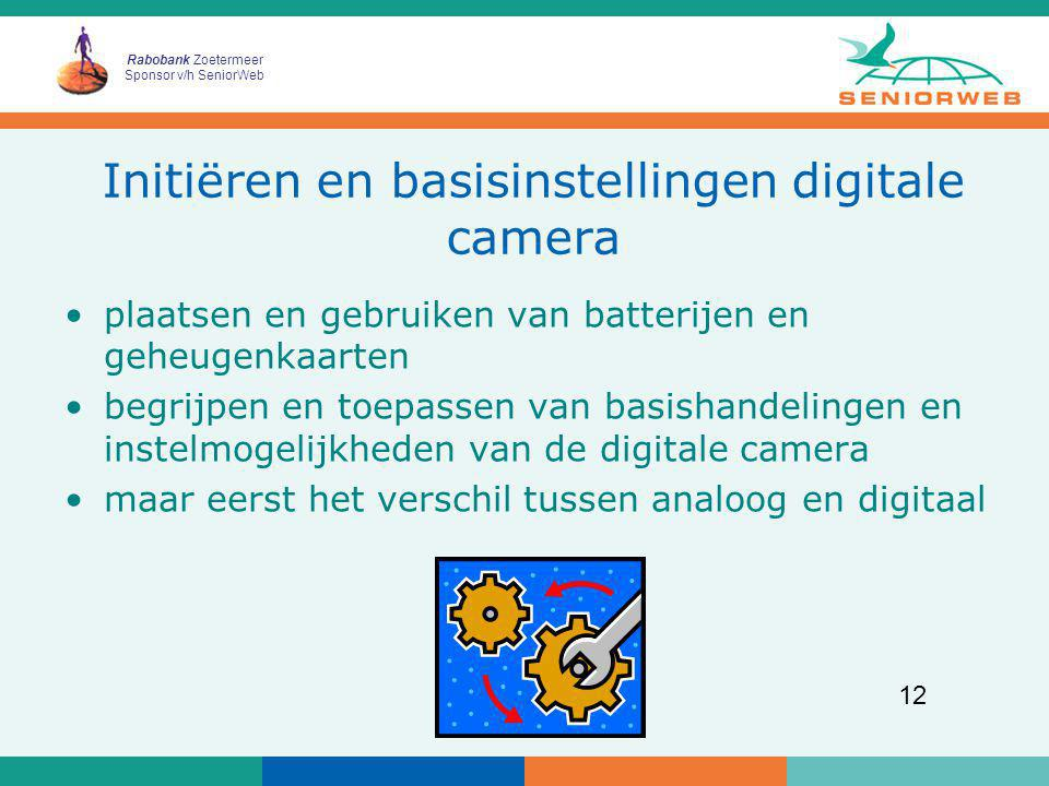 Initiëren en basisinstellingen digitale camera