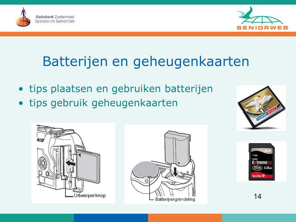 Batterijen en geheugenkaarten