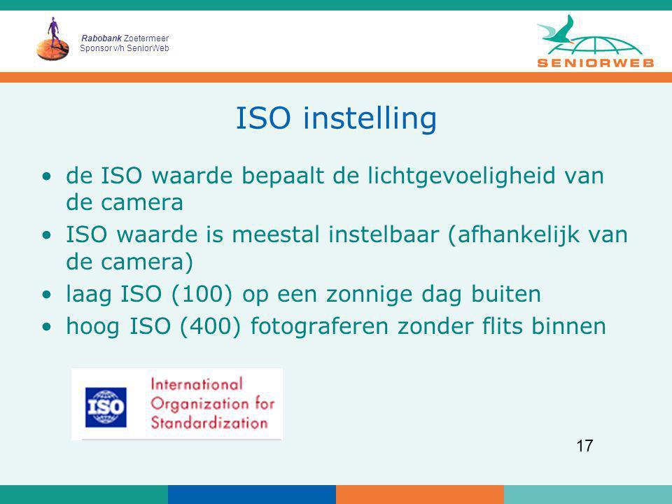 ISO instelling de ISO waarde bepaalt de lichtgevoeligheid van de camera. ISO waarde is meestal instelbaar (afhankelijk van de camera)