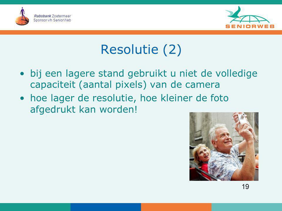 Resolutie (2) bij een lagere stand gebruikt u niet de volledige capaciteit (aantal pixels) van de camera.