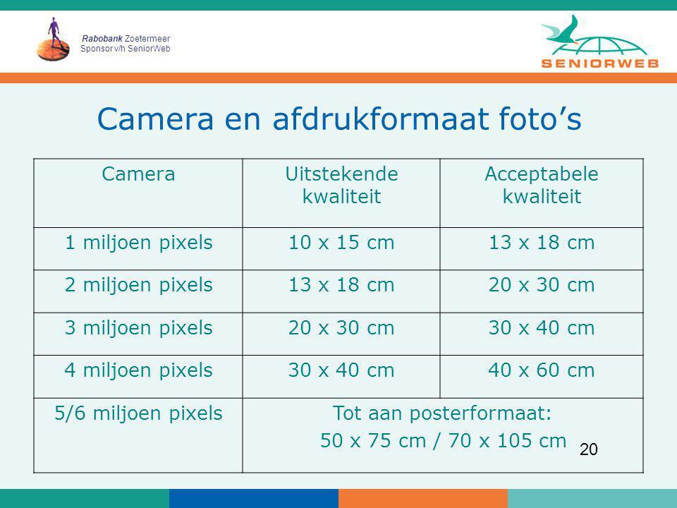 Camera en afdrukformaat foto's