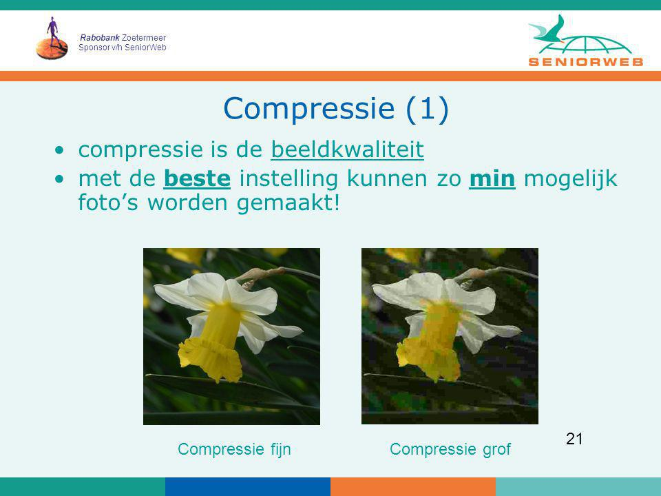 Compressie (1) compressie is de beeldkwaliteit