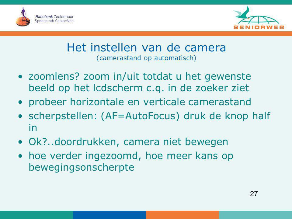 Het instellen van de camera (camerastand op automatisch)