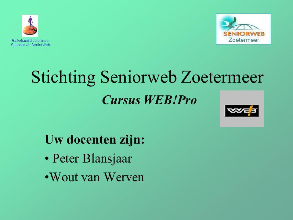 Stichting Seniorweb Zoetermeer Cursus WEB!Pro