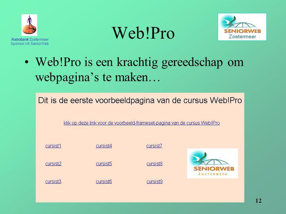Web!Pro Web!Pro is een krachtig gereedschap om webpagina's te maken…