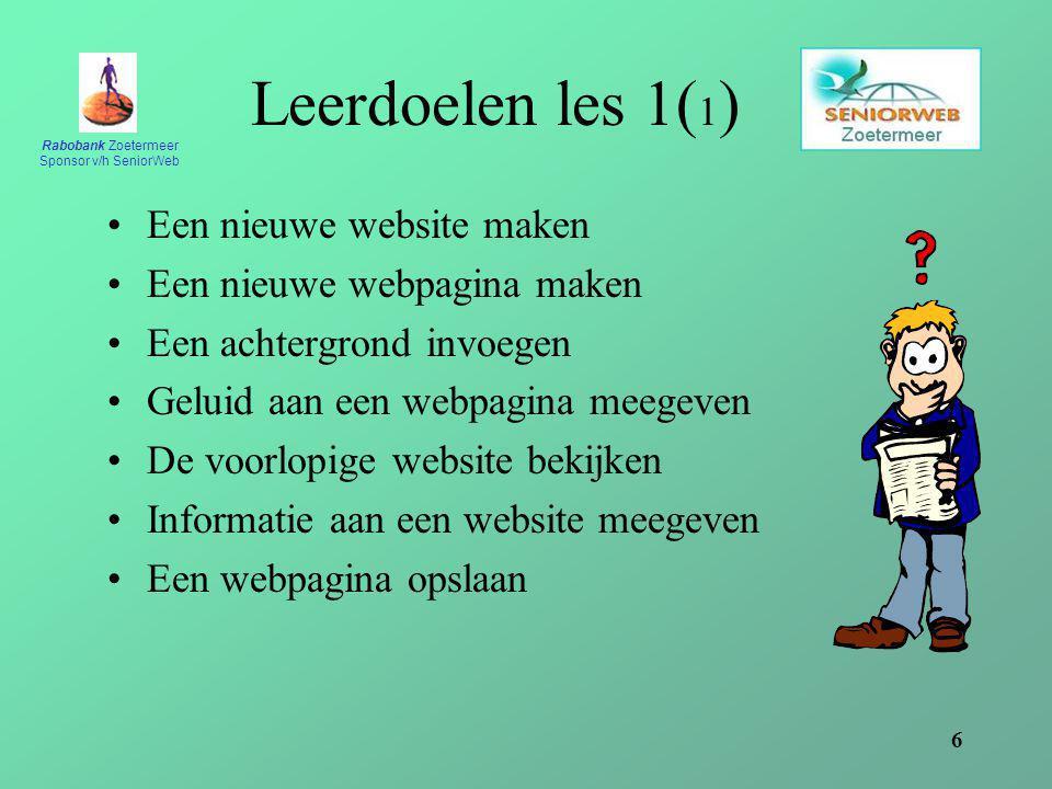 Leerdoelen les 1(1) Een nieuwe website maken