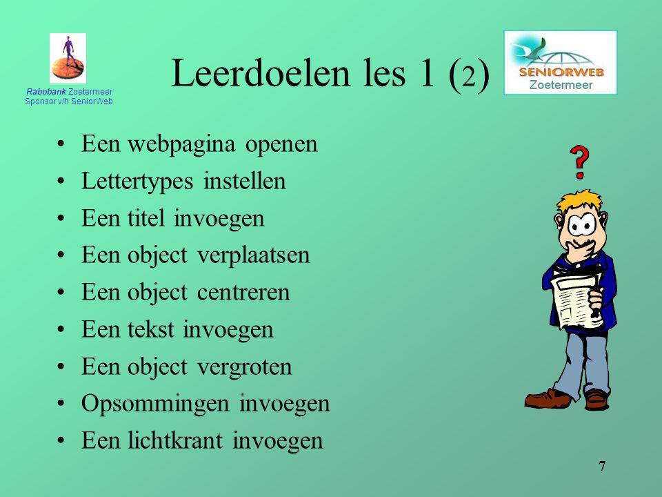 Leerdoelen les 1 (2) Een webpagina openen Lettertypes instellen
