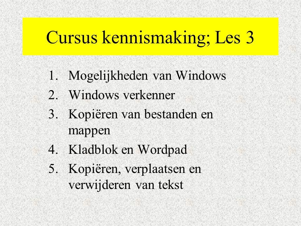 Cursus kennismaking; Les 3