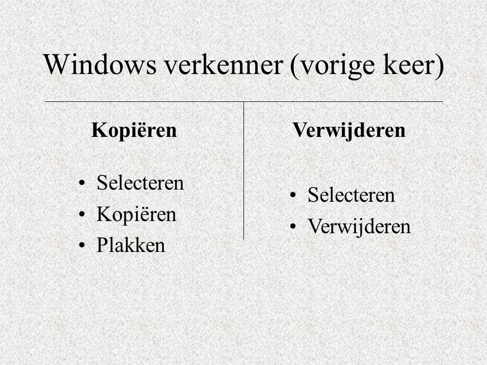 Windows verkenner (vorige keer)